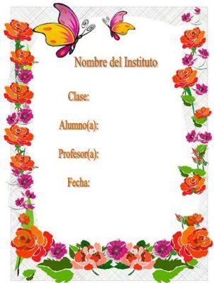 10 carátulas para cuadernos con flores (5)